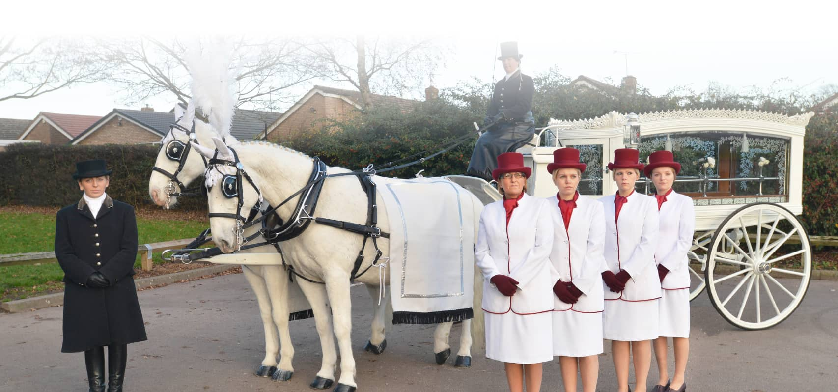 Our white funeral carriage at Walsh Funerals & Memorials