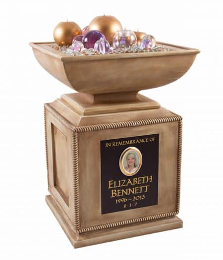 Remember your loved one with this stunning golden memorial urn with bowl which you can fill with flowers, scented oils or potpourri