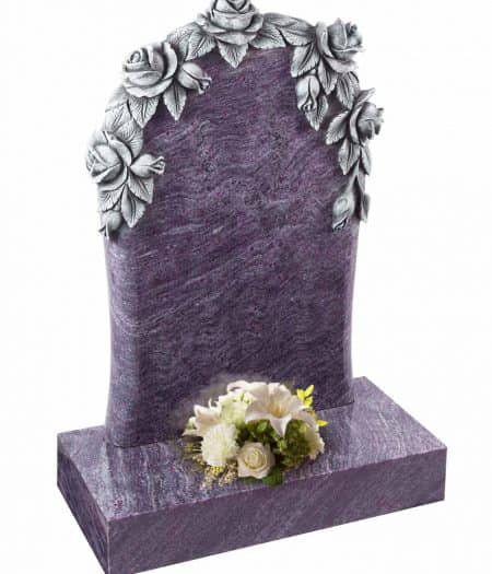 A beautiful floral headstone with with roses