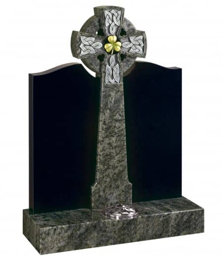 A Celtic themed headstone with Celtic cross