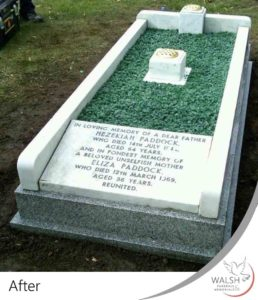 A grave memorial after being cleaned and restored