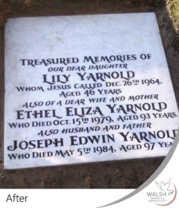 A grave memorial after having the inscriptions renewed