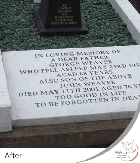 A cleaned and restored grave memorial