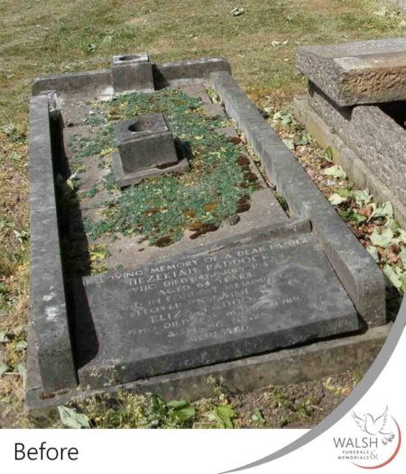 Grave memorial in need of restoration