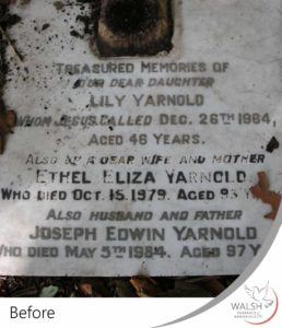A marble grave stone before cleaning and restoration