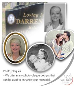 Headstone photo plaques