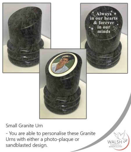 A granite urn for a loved ones ashes