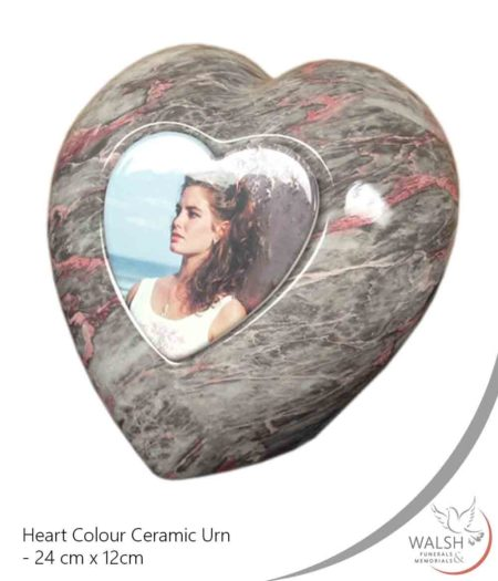 A love heart shaped ceramic urn to remember your loved one