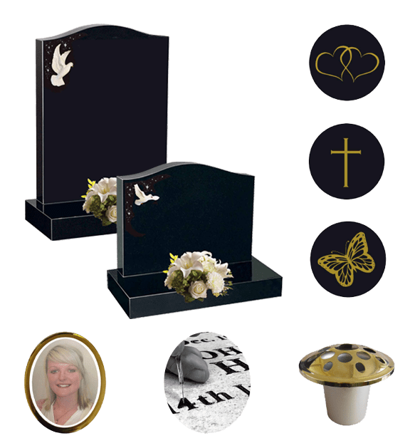 Ogee headstone offer, with design, engraving, flower container included