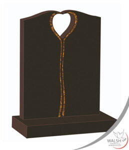 Black granite headstone memorials with heart cut out