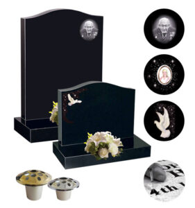 Memorial offer with photo etching, dove, photoplaque, inscription, flower containers
