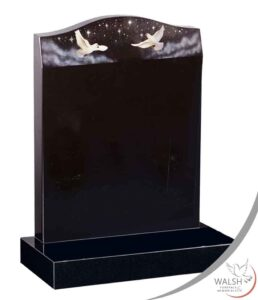 black granite memorial with doves and sparkle effect